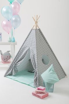 Grey stars kids teepee play tent with a padded floor by WigiWama