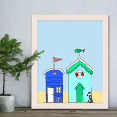 Beach hut print 2, nautical Nursery Art for Kids Room Decor beach hut art Beach House Decor Nautical Bathroom Cool kid gift Unique kid gift