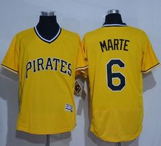 68d99c2fa55 Pirates  6 Starling Marte Gold Flexbase Authentic Collection Cooperstown  Stitched MLB Jersey
