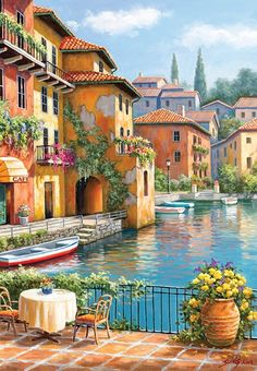 Photo Perre Group 3294 - Kim: Cafe At The Canal - Jigsaw 260 pieces 1