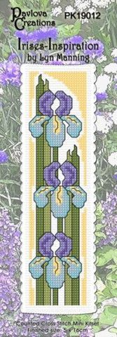 Cross-stitch bookmark - Irises – NZ Fabrics & Yarn