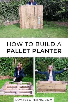How to convert a single wood pallet into a deep container for growing food. Includes written instructions plus a video showing how to build it, line it, then fill it with compost for growing edible plants garden videos How to build a Pallet Planter Diy Pallet Projects, Wood Projects, Diy Backyard Projects, Diy Patio, Woodworking Projects, Outdoor Projects, Backyard Patio, Woodworking Plans, Woodworking Videos