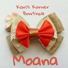 Disney Inspired Bows - Moana by KarisKornerBowtique on Etsy https://www.etsy.com/listing/476385026/disney-inspired-bows-moana