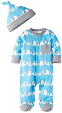 Offspring - Baby Apparel Baby-Boys Newborn Offspring Elephant Footie With Hat - Tobona.com #babyboypajamas