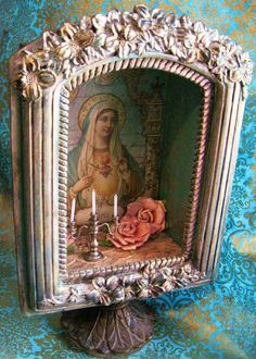 Our Lady shrine box shelf altar pedestal art by inthewillows on Etsy, Religious Icons, Religious Art, Madonna, Image Jesus, Home Altar, Blessed Mother Mary, Catholic Art, Assemblage Art, Mexican Folk Art