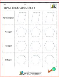 Shape Tracing worksheets - Trace the Shape 2
