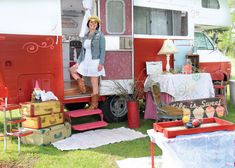 Nicole Harris of Columbia City with her glamped out 1977 Minnie Winnie RV