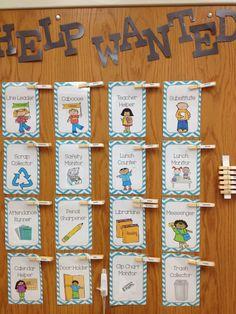 Sliding Into Second Grade- Classroom Job Cards. Classroom Job Chart, Classroom Helpers, First Grade Classroom, New Classroom, Classroom Setup, Classroom Displays, Kindergarten Classroom Jobs, Preschool Jobs, Chevron Classroom