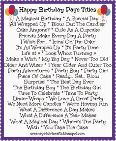 Birthday Page Titles