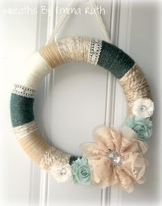 Shabby Chic Yarn Wreath Blue and Cream with by WreathsByEmmaRuth