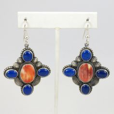 Lapis and Spiny Oyster Earrings – Garland's Indian Jewelry - Tommy Jackson, Navajo