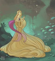 "ravietta: ""My little contribution to MerMay. Because I've seen some Rapunzel!mermaid pictures on my dash and the sadist in me winced at how easy-to-handle her hair looked there. Disney Rapunzel, Disney Princess Art, Mermaid Disney, Mermaid Art, Disney Fan Art, Disney Princesses, Fantasy Princess, Disney And Dreamworks, Disney Pixar"