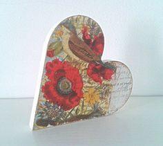 Heart Poppy and Bird freestanding heart with by handmadebydebmac