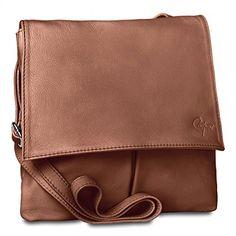 d2309637d6ea2 CASPAR Damen Ledertasche Umhängetasche Messenger Bag Vintage - mit vielen  Fächern aus weichem italienischem Nappa Leder