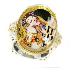 One-of-a-kind Michael Valitutti Palladium Silver Painted Mother-of-pearl Shell and Zircon Kiss Ring, Women's