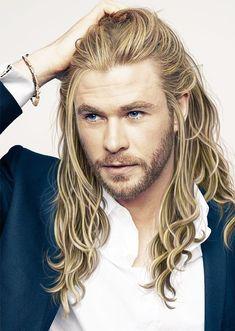 Surfer Hairstyles, Blond Hairstyles, Boys Long Hairstyles, Haircuts For Men, Haircut Men, Men's Haircuts, Easy Hairstyles, Chris Hemsworth Thor, Hemsworth Brothers