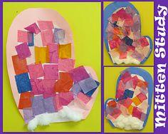Bright mittens (tissue paper collage)