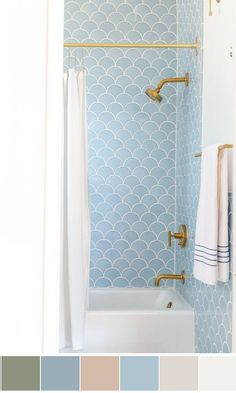 Bathroom Color Schemes A mermaid's skin transposed in a delicate blue tiled bathroom