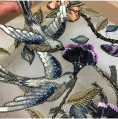 The Art of Couture ( Tambour Beading, Tambour Embroidery, Bird Embroidery, Couture Embroidery, Embroidery Fashion, Embroidery Jewelry, Modern Embroidery, Hand Embroidery Designs, Embroidery Stitches