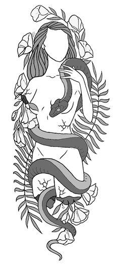 Dark Art Drawings, Art Drawings Sketches, Tattoo Drawings, Tattoo Outline Drawing, Tattoo Sketches, Medusa Tattoo, Snake Tattoo, Eve Tattoo, Desenho Tattoo
