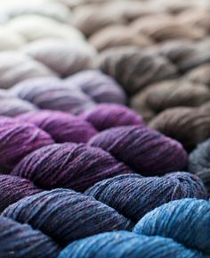 spools of yarn color gradient | @Brooke Williams Williams Williams Is Far Out Tweed yarns and patterns