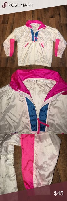 Women's Small Vintage Columbia Windbreaker Jacket Some pink bleeding in areas Columbia Jackets & Coats
