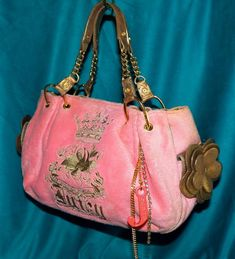 Juicy Couture Pink Terry Bronze Just Another Day n Paradise Baby Fluffy Hobo Bag #JuicyCouture #Hobo