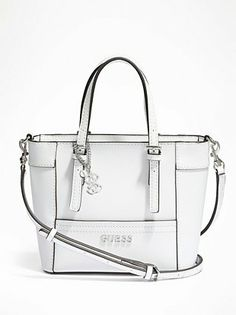 Guess Delaney Pee Tote With Crossbody Strap 65 Liked On Polyvore Featuring Bags Handbags White Multi Mini Crossbo