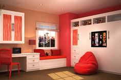 A window seat and desk is an excellent idea to create a cozy space for your kid's bedroom or playroom.