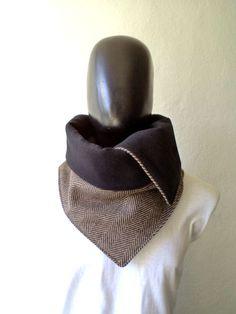 Men scarf. Men cowl,  Extra Wide, Herringbone wool 100%. Trendy, modern, chunky  and cozy.. $32.50, via Etsy.