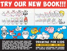 learn how to draw cartoons by drawing them from words, letters, and numbers - easy drawing book for kids Drawing Books For Kids, Drawing Lessons For Kids, Drawing Tutorials For Kids, Word Drawings, Cartoon Drawings, Easy Drawings, Cartoon Giraffe, Cartoon Kids, Cartoon Bear