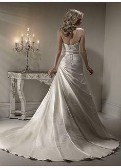 Buy Elegant Exquisite Sain A-line Strapless Wedding Dress
