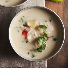 Thai Chicken and Coconut SouP: we've deviated slightly from the classic version of a popular thai soup by adding rice to make it more substantial. Serve it with lime wedges. Chicken Coconut Soup, Coconut Soup Recipes, Thai Chicken, Wine Recipes, Asian Recipes, Great Recipes, Cooking Recipes, Favorite Recipes, Healthy Recipes