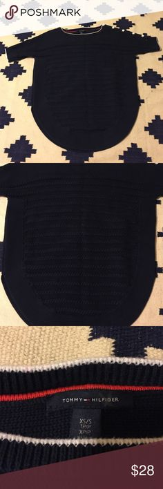 Tommy Hilfiger Tunic Sweater Thick cable knit design sweater. Navy blue with white and gold colored buttons on right shoulder. Very warm and cozy. Size XS. Very very mild discoloration. Tommy Hilfiger Sweaters