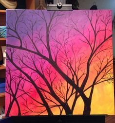 Easy steps to paint a sunset sky and a tree in acrylic paints | my ...