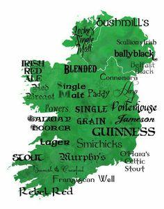 Best of Irish Whiskey and Beer Typography Word Art Ireland Map Wall Art collection Ireland Map, Ireland Travel, Irish Eyes Are Smiling, Irish Pride, Irish Roots, Irish Whiskey, Scotch Whiskey, Irish Blessing, Irish Celtic