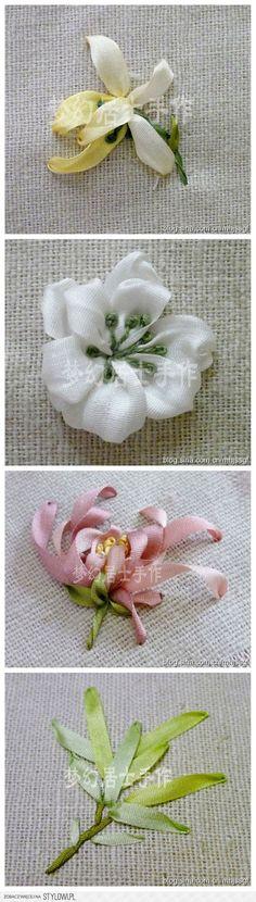 Ribbon haft - kwiaty