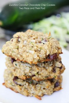 Zucchini Coconut Chocolate Chip Cookies on twopeasandtheirpod.com A great way to use up your summer zucchini!
