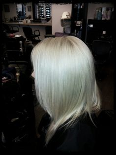 Beautiful platinum icy blonde hair color, looks so sleek and shiny! #iamgoldwell