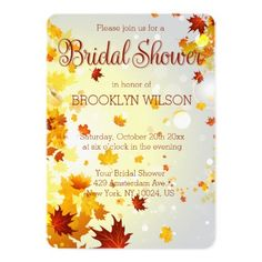 Round Colorful Fall Bridal Shower Invitations