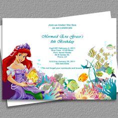 Ariel Disney Little Mermaid Free Birthday Invitation
