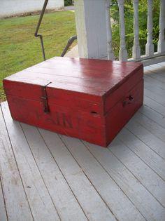 Old Wood Box  Paint Box  Primitive Farmhouse Decor by misshettie
