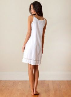 44326ef091cb Ashlyn Ladies Cotton Nightgown with Spaghetti Straps and French Lace trim.  Cotton NightiesFrench LaceElegant SophisticatedNightgownPyjamasWhite ...