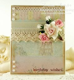 Inspired by Stamping Little Phrases Stamp Set, Inspired by Stamping Flowers, Birthday Card, Shabby Chic Card, CAS Card