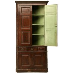 c.1780 Antique English Georgian Faux Grained Pine Corner Cupboard | From a unique collection of antique and modern corner cupboards at https://www.1stdibs.com/furniture/storage-case-pieces/corner-cupboards/