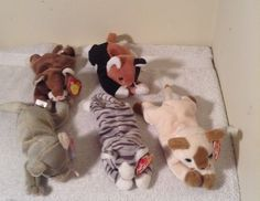 6f8f4272822 NWT LOT of 5 TY Beanie Babies CATS PRANCE CHIP SCAT SNIP POUNCE Retired Baby   Ty