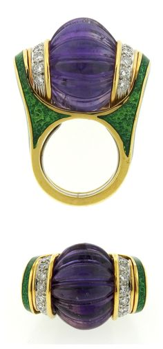 Large David Webb 18k gold, platinum, carved amethyst, diamond, and enamel ring. At Oakgem.