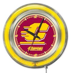 Central Michigan University Neon Logo Clock