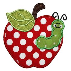 By Category :: Back To School :: Apple Worm Applique - Embroidery Boutique Free Applique Patterns, Baby Applique, Sewing Appliques, Machine Embroidery Applique, Vintage Embroidery, Applique Quilts, Applique Designs, Embroidery Patterns, Quilt Patterns