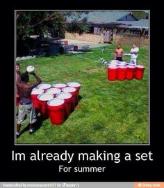 life size beer pong... Trash can red cups